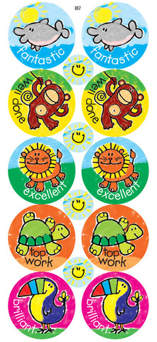 DE7  Reward Stickers: Crayon Animals