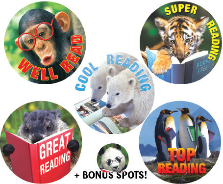 DE97 Reward Stickers: Reading Animals