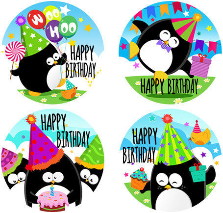 DL05 Penguins Happy Birthday Stickers 35mm