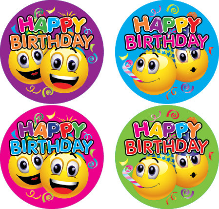 DL16 Happy Birthday Emoji Stickers 35mm