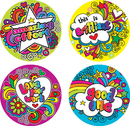 DL18 Rainbow Doodles Stickers 35mm