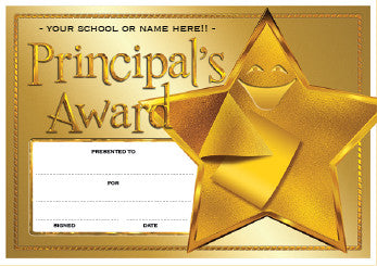 PC03 Principal's Gold Award Personalised Certificates