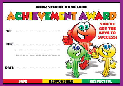 PC05 Key Achievement Award Personalised Certificate