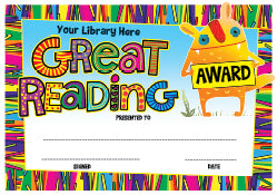 PC08 Great Reading Award Personalised Certificate