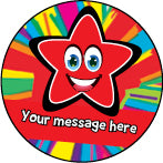 PS28 Red Bright Stars Personalised Stickers