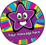 PS29 Purple Bright Stars Personalised Stickers