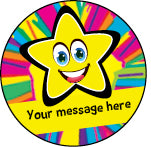 PS30 Yellow Bright Stars Personalised Stickers