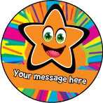 PS32 Orange Bright Stars Personalised Stickers