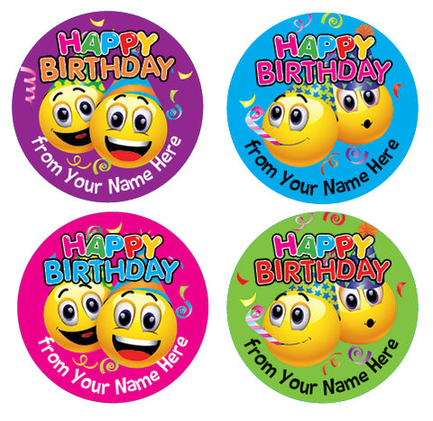 PS46 Happy Birthday Emoji Personalised Stickers
