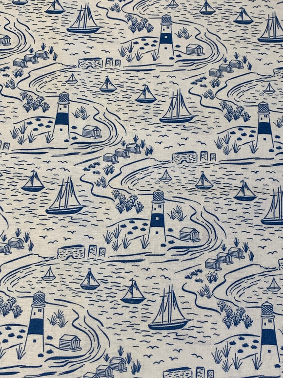 Blue Sailing Print fabric