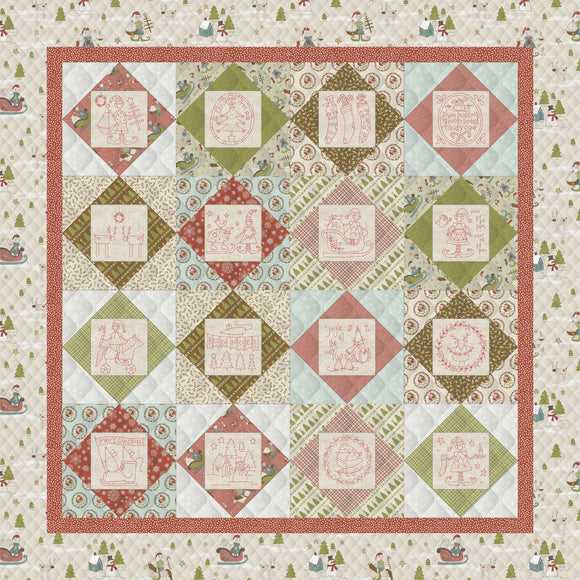 Square in a Square Christmas Quilt – Kit (Red/Beige Borders)