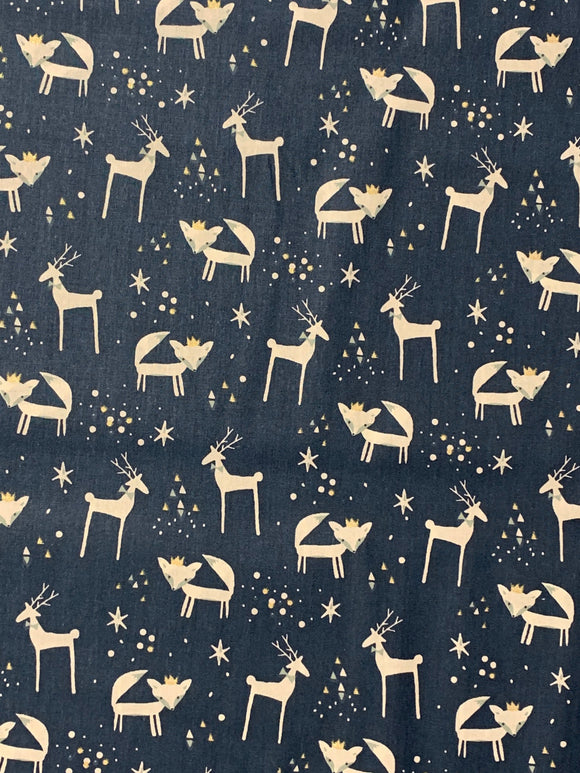 Navy Reindeer & Fox Print Fabric
