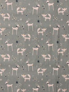 Pale Blue Reindeer & Fox Print Fabric
