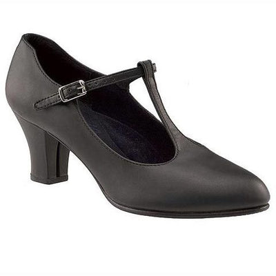 Capezio Jr. Footlight T-strap Chorus Heels - Black - Adult