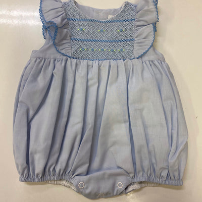 Blue hand embroidered sunsuit
