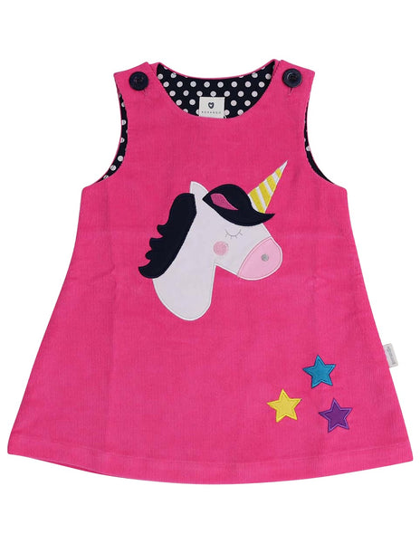 Unicorn lined cord pinafore