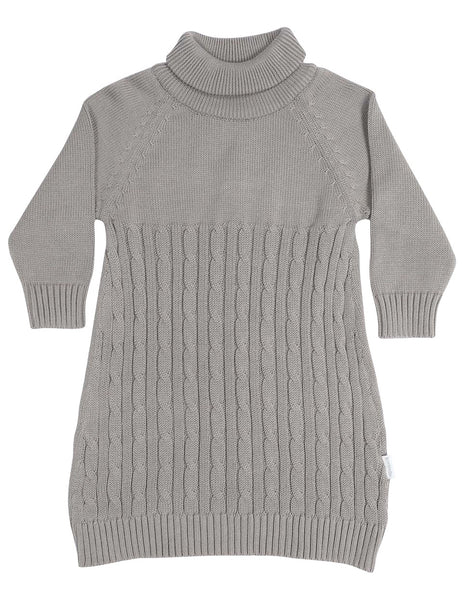 Grey Cable Knit Turtle Neck Dress