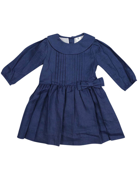 Navy Linen Collared Dress