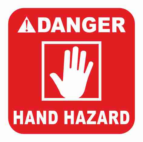 מדבקה לקסדה DANGER HAND HAZARD