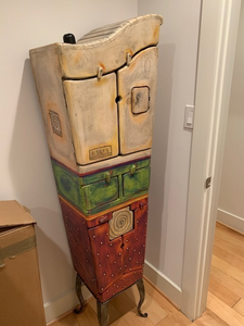 SWEDISH ARTIST CLAES O'ERNGREN WHIMSICAL 6 DOOR HAND PAINTED CABINET