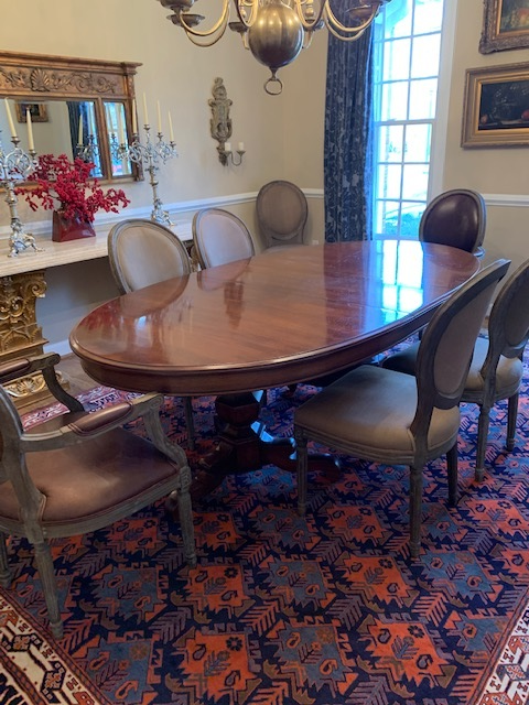 RARE OVAL HENREDON DOUBLE PEDESTAL DINING TABLE