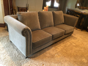 CUSTOM DESIGNED ROLLED ARM TAUPE MOHAIR COUCH WITH BRASS UPHOLSTERY TACKS