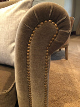 Load image into Gallery viewer, CUSTOM DESIGNED ROLLED ARM TAUPE MOHAIR COUCH WITH BRASS UPHOLSTERY TACKS