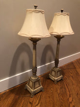 Load image into Gallery viewer, SET OF 2 FINE ART CONSOLE LAMPS IN WARM GOLD  WITH WHITE FINISH WITH SILK SHADES