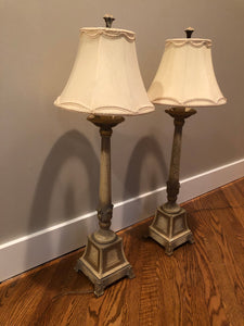 SET OF 2 FINE ART CONSOLE LAMPS IN WARM GOLD  WITH WHITE FINISH WITH SILK SHADES