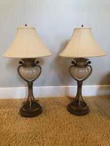 2 FINE ART OPEN BASE METAL & GLASS LAMPS w/DARK BRONZE FINISH WITH SILK SHADES