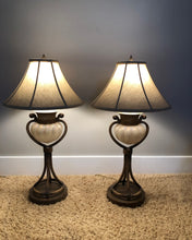 Load image into Gallery viewer, 2 FINE ART OPEN BASE METAL & GLASS LAMPS w/DARK BRONZE FINISH WITH SILK SHADES