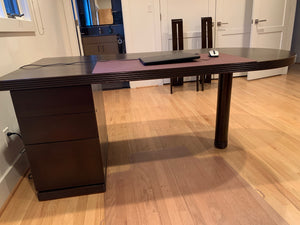 DARK WOOD MINIMALIST CONTEMPORARY DESK WITH ROUNDED EDGE AND FILE STORAGE