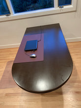 Load image into Gallery viewer, DARK WOOD MINIMALIST CONTEMPORARY DESK WITH ROUNDED EDGE AND FILE STORAGE