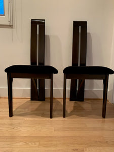 SET OF 2 MID CENTURY MODERN HIGH BACK WOOD COBRA CHAIRS WITH UPHOLSTERED SEATS