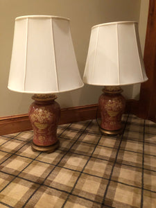SET OF 2 HAND PAINTED URN TABLE LAMPS WITH IVORY SILK O LITE SHADES