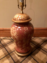 Load image into Gallery viewer, SET OF 2 HAND PAINTED URN TABLE LAMPS WITH IVORY SILK O LITE SHADES