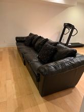 Load image into Gallery viewer, LOW PROFILE 2 PIECE BLACK LEATHER SOFA