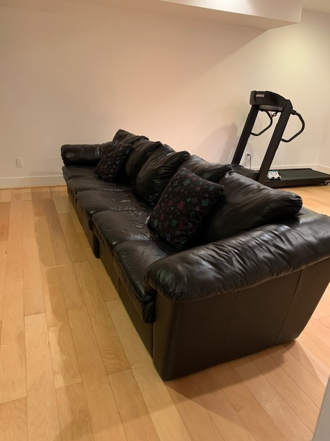LOW PROFILE 2 PIECE BLACK LEATHER SOFA