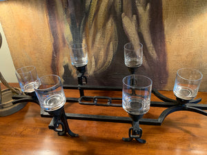 IRON CANDLE HOLDER WITH 6 CANDLE GLASS VOTIVE CUPS