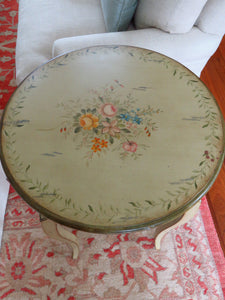 COUNTRY FRENCH FLORAL PAINTED ROUND OCCASIONAL TABLE