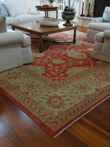 100% WOOL HAND KNOTTED PAKISTAN FLORAL PATTERNED AREA RUG