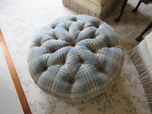 Load image into Gallery viewer, BLUE, TAN AND CREAM PLAID TUFTED OTTOMAN WITH A BOX PLEAT SKIRT