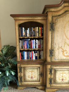 COLONIAL BRAZILIAN HAND PAINTED ARMOIRE WITH MATCHING BOOKCASE ENDS