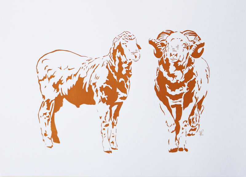'Ram Brothers' Screenprint - Tan