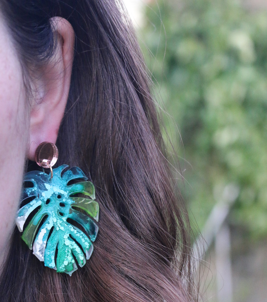 Picasso Monstera Leaf Earrings