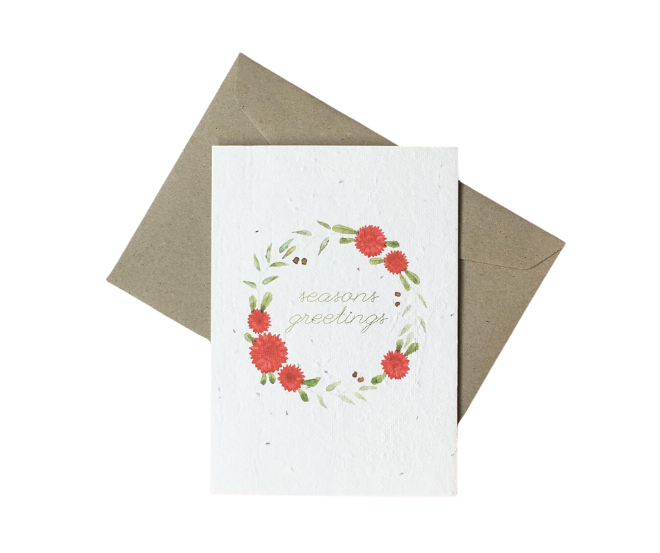 Seeded Christmas Card - 'Seasons Greetings'