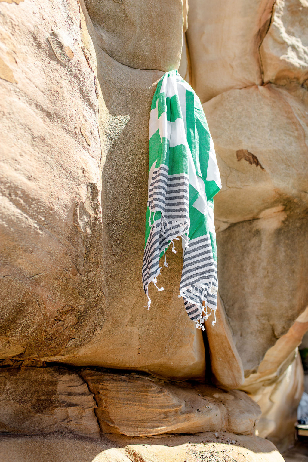 Flamenco Beach Towel - Apple Green and Navy