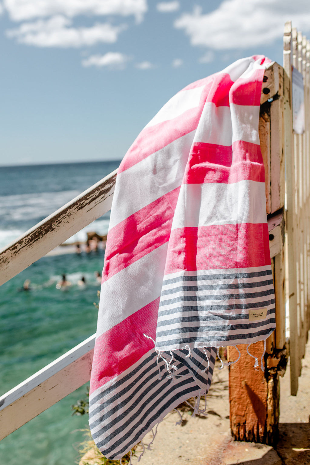 Flamenco Beach Towel - Pink and Blue