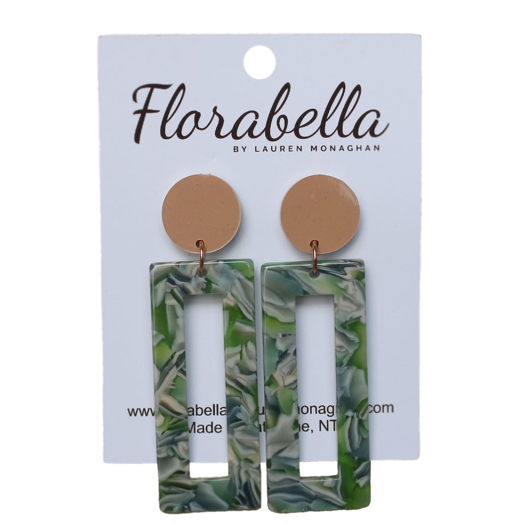 Florabella Green Resin Dangle