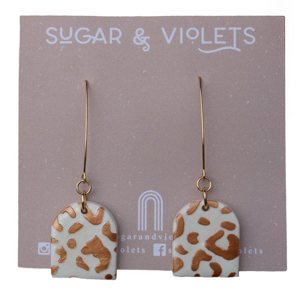 Leopard Print Clay Dangle